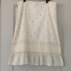 ANTHROPOLOGIE ODILLE EMBROIDERED DOTS & LACE SKIRT